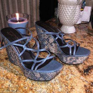 Donald J Pliner Blue Wedge SandalS SZ 8 MSRP $265